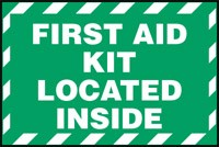 "First Aid Kit Inside Sticker , 3.5 ""x 5 "" - Adhesive Dura Vinyl"