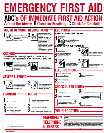 Plastic ABC's of Emergency First Aid sign