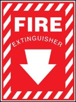 Aluminum, Fire Extinguisher Sign