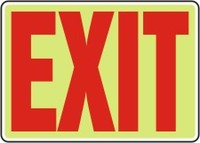 Plastic, Exit Sign (Red on a Lumi-Glow Plastic)