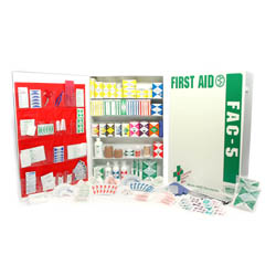 FAC-5 Shelf Industrial Deluxe Metal First Aid Cabinet w/ pkt liner