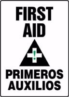 "Bilingual First Aid Sign Plastic 14"" x 10"""