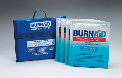 "Burnaid® burn blanket kit, 4, 16""x22"" burn dressings (equivalent to 5'x7' blanket) in nylon, refillable blue bag, 1 ea."